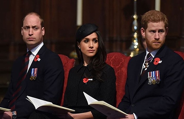 Prince William, Meghan and Prince Harry attend an annual Service of Commemoration and Thanksgiving at Westminster Abbey on April 25, 2018. (Credit Instagram/@kensingtonroyal)