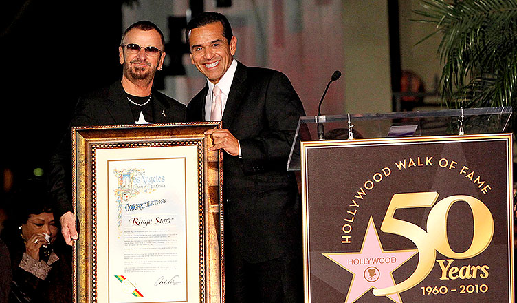 Villaraigosa helped honor Ringo Starr on the Hollywood Walk of Fame in 2010. (Credit: Deposit Photos)