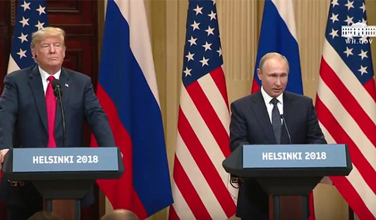 President Donald Trump and Russian President Vladimir Putin spoke to reporters on Monday, July 16, 2018, in Helsinki, Finland.