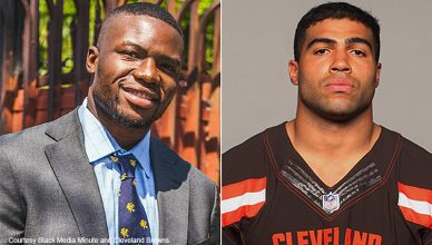 Damilare Sonoiki and Mychal Kendricks (Credit: Black Media Minute and Cleveland Browns)