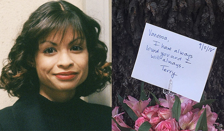 Actress Vanessa Marquez is shown in this image, along with flowers from a makeshift memorial in South Pasadena. (Credit NBC/B. Higgs)