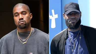 """Kanye West is seen exiting her hotel on September 3, 2016 in New York City. LeBron James at the """"Small Foot"""" Premiere at the Village Theater on September 22, 2018 in Westwood, CA (Credit: Shutterstock)"""