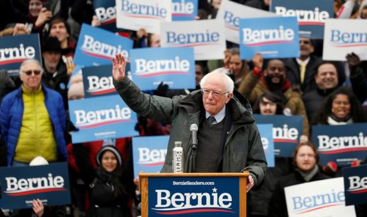 Bernie Sanders held a big rally in New York City in Feb. 2019. (Credit: YouTube)
