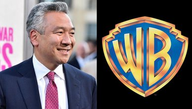 Kevin Tsujihara and Warner Bros. Logo. (Credit: YouTube/Warner Bros.)