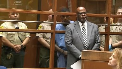 Eric Holder, shown with attorney Christopher Darden, made his first court appearance on Thursday, April 4, 2019. (Credit: YouTube/CBSLA)