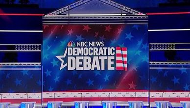 Democratic Debate Stage (Credit: NBC News/Twitter)