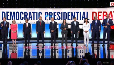 Candidates are shown on stage during night two of CNN's Democratic debate. (Credit: CNN)
