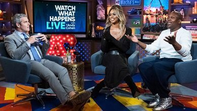 Tituss Burgess and Laverne Cox on Watch What Happens Live. (Credit: Bravo)