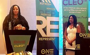 Sarah Glover was honored by Michelle Rice, general manager of TV One and CLEO TV (Credit: Urban Hollywood 411)
