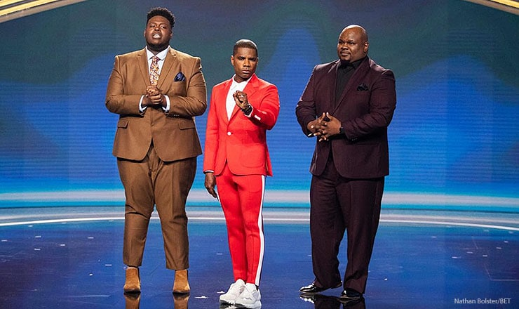 (left to right) Melvin Crispell III, Kirk Franklin, Joshua Copeland face the audience as finalist announced. (Photo: Nathan Bolster/BET)