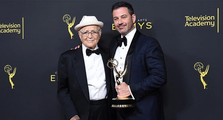 Norman Lear and Jimmy Kimmel attend the 2019 Creative Arts Emmy Awards. (Credit: Shutterstock)
