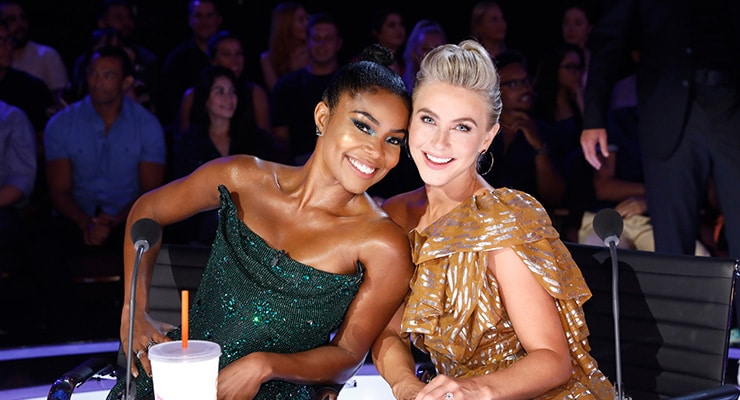 """Gabrielle Union and Julianne Hough on the set of """"America's Got Talent."""" (Credit: NBC)"""
